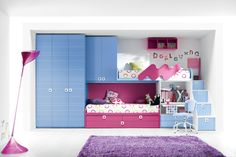 Stylish Space Saving Furniture Design Ideas For Minimalist House With Lovely Blue Hot Pink Bunk Beds Design Integrated With Cool Bunk Beds With Storage, Cool Bunk Beds, Bunk Beds With Stairs, My New Room, My Room, Girl Room, Girls Bedroom, Red Bedrooms, Small Bedrooms