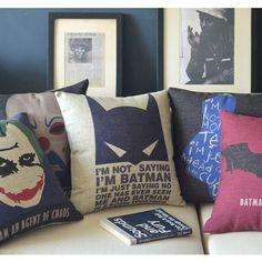 Halloween Batman and the Joker poster cartoon pop cotton linen throw pillow case pillowcase/houseware Funky Cushions, Cushions On Sofa, Throw Pillow Cases, Throw Pillows, Batman Quotes, Joker Poster, Kids Room Design, Pillow Talk, Fabric Sofa