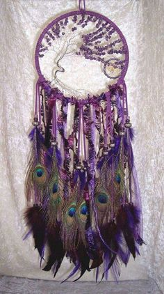 Amethyst Tree Of Life Peacock Feather Dreamcatcher Purple Love, All Things Purple, Shades Of Purple, Dreams Catcher, Sun Catcher, Los Dreamcatchers, Tree Of Life, Wind Chimes, Favorite Color