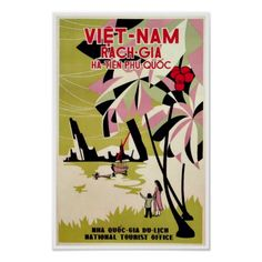 Rach Gia Vietnam Vintage Art Deco Travel Poster