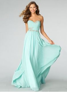 54c937fb48 A-Line Princess Strapless Sweetheart Sweep Train Chiffon Prom Dress With Beading  Dress Prom