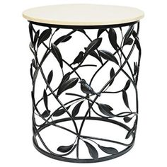 Crestview Bird Sanctuary Marble-Top Round Accent Table