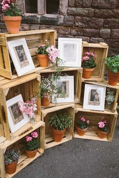 A wonderful collection of ways to use wooden crates in rustic weddings. See our crates here: http://www.lightsforalloccasions.com/c-397-baskets-crates-trays.aspx