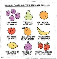 """Gemma Correll's """"Various Fruits and Their Personal Problems"""""""