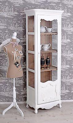 Vitrinenschrank Wohnzimmer Vitrine Shabby Chic Regal Weiss Regalschrank Vintage