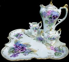 Elegant Victorian tea or chocolate set trimmed with gold and mother of pearl - Tea Set - Ideas of Tea Set - Elegant Victorian tea or chocolate set trimmed with gold and mother of pearl. Beautiful Pansy and violet motif.