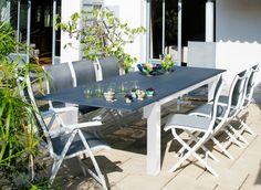 Table de salon de jardin Juan 220/340cm avec allonge - Proloisirs ...