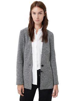 Dokuma koton blazer ceket - Ceket - Kadın   MANGO Türkiye