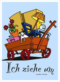 Eine Art Tagebuch von Thomas P. Roehtlisberger :: 13.05.2010 / Umzugskarte Illustration, Toys, Car, Moving Home, Daily Journal, Cards, Activity Toys, Automobile, Illustrations