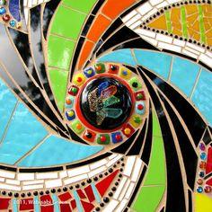 Recycled surfboard glass mosaic art by Cherrie La Porte.