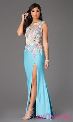 Floor Length Sleeveless Lace Embellished Dress by Rachel Allan at PromGirl.com