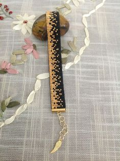 Black and Gold Miyuki Bracelet / Beaded Bracelet / Miyuki Beads / Miyuki Bead Bracelet / Miyuki Delica / Slide Ending Loom Bracelet Patterns, Bead Loom Bracelets, Bead Loom Patterns, Beaded Jewelry Patterns, Beading Patterns, Beading Ideas, Beading Supplies, Bead Jewellery, Seed Bead Jewelry