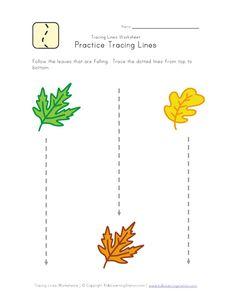 Leaves pre-writing worksheet