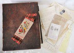 1851 LOT antique LEATHER DICKSON marion sc BIBLE Ephemera Paper Punch Sampler