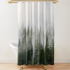 Hippie House, Hippie Home Decor, Colorful Shower Curtain, Forest Decor, Forest Pictures, Misty Forest, Forest House, Bathroom Pictures, Fabric Shower Curtains