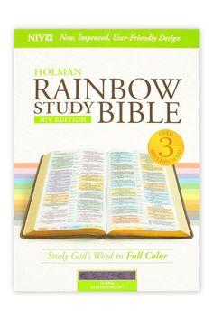 NIV Rainbow Study Bible, LeatherTouch, Purple, Floral Design   NIV-New International Version   Bible Translations   Bibles   Mardel