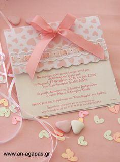 Υφασμάτινο προσκλητήριο βάπτισης φάκελος λευκό-ροζ καρδούλες   an-agapas.gr
