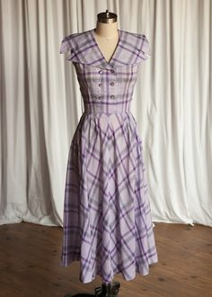 Dancing in the Minefields dress | vintage 50s dress | purple plaid 50s dress | sleeveless 1950s sundress | semi-sheer double breasted bias
