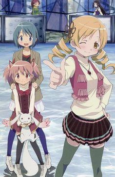 Puella Magi Madoka Magica postcard promo Miki Sayaka , Kaname Madoka , Akemi Homura , Tomoe Mami , Sakura Kyoko , Kyubey