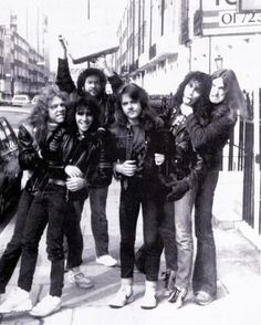 a-dash-of-bourbon: Metallica with Scott Ian & Jon Zazula, 1984 Scott Ian, Cliff Burton, Robert Trujillo, Kirk Hammett, Metal T Shirts, James Hetfield, Heavy Metal Bands, Thrash Metal, Black Sabbath