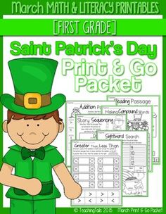 This Print & Go Packet for March or Saint Patrick's Day has many engaging activities and printables that follow Common Core Standards and lasts the entire month. The sheets are a great addition to any curriculum for morning work, literacy, math and writing centers, homework and for students who finish early.The packet is designed for 1st grade but can also be used for high level kindergartners or struggling 2nd graders.There is no preparation, lamination or special printing necessary for ...