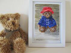 original teddy bear art for children, teddy bear in red hat art, film star, child room decor, baby shower, teddy bear, pet, toy teddy art by marjansart on Etsy