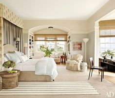 This serene master bedroom in the Hamptons features a lovely muted color palette.Pin it.AD traces the fall 2014 haute couture collections' floral influencesOur picks for the best new design books, including one celebrating Hamptons styleRalph Lauren's vintage cars take center stage at Lime Rock These hot spots with jaw-dropping views set the standard for sky-high summer libations