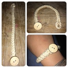 """Armband - eigen knoopje - touw-""""look"""" - koordsteek (Romanian lace cord stitch)"""