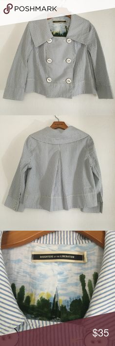 """Daughters of the Liberation seersucker crop jacket In excellent used condition crop jacket.   MEASUREMENTS Shoulders (seam to seam): 15"""" Chest: 18"""" Length: 20.5""""   •• C2 Anthropologie Jackets & Coats"""