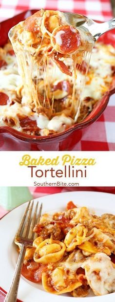 This Baked Pizza Tortellini has all the great flavor of pizza filled with cheesy tortellini. It's easy, quick, and the leftovers are amazing! #easy #recipes #dinner #pizza #tortellini