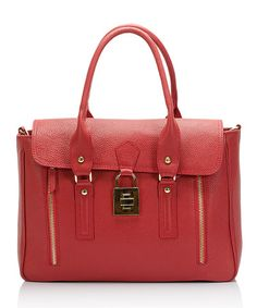 Love this Red Lock Leather Satchel on #zulily! #zulilyfinds