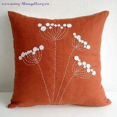 Hand Embroidered Pillow Cover (use white buttons for blossums?) : Hand Embroidered Pillow Cover (use white buttons for blossums? Sewing Pillows, Diy Pillows, Decorative Pillows, Cushions, Throw Pillows, Fabric Crafts, Sewing Crafts, Sewing Projects, Cushion Covers