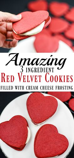 My daughter says these cookies are better than Red Velvet Cake! These Red Velvet Heart Shaped Cookies are filled with my favorite cream cheese frosting. They are the easiest cookies to roll out and a family favorite.