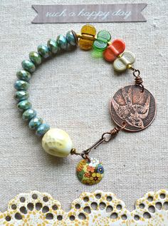 Bracelet- Bird with egg bead, glass wing ding beads from Genea, and a tin charm FOR LEANNE ONLY! Leather Cord Bracelets, Cute Bracelets, Handmade Bracelets, Jewelry Bracelets, Bangles, Artisan Jewelry, Handcrafted Jewelry, Bracelet Making, Jewelry Making