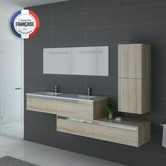 Meuble double vasque ref: bellissimo sc Scandinavian Bathroom Furniture, Basin Design, Bedroom Plants, Minimalist Bathroom, Bedroom Vintage, Bedroom Storage, White Bathroom, Home Remodeling, Furniture Sets