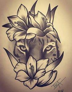 Pin by Mishee Mercier On Art in flower crown drawing Flower Crown Tiger Drawing Tiger and Flowers Drawing Tiger Flowers Tigerandflowers Tattoo Design Drawings, Flower Tattoo Designs, Tattoo Sketches, Flower Tattoos, Art Drawings, Unique Drawings, Trendy Tattoos, Cute Tattoos, Body Art Tattoos