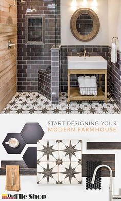 Achieve a modern farmhouse bathroom design by combining traditional elements with a modern twist. Hexagonal, subway, encaustic, patterned and natural wood-look tiles all bring elements of modern farmhouse style to your home. Complete the look with painted Bathroom Renos, Small Bathroom, Bathroom Ideas, Bathroom Vinyl, Master Bathroom, Dream Bathrooms, Beautiful Bathrooms, Modern Farmhouse Bathroom, Bath Remodel