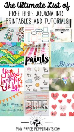 Free Bible Art Journaling Printables and Tutorials - The Ultimate List! Free-Bible-Journaling-Printables-and-Tutorials-sm Faith Bible, My Bible, Bible Art, Bible Scriptures, Bible Study Journal, Scripture Study, Art Journaling, Prayer Journals, Scripture Journal