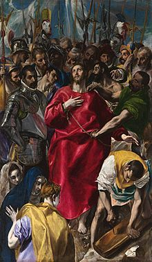 The Disrobing of Christ (El Espolio) (1577–1579, oil on canvas, 285 × 173 cm, Sacristy of the Cathedral, Toledo) is one of the most famous altarpieces of El Greco