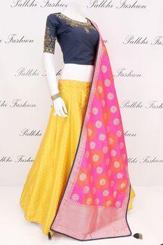 Yellow Silk Lehenga Set With Beautiful Color Combination Yellow Lehenga, Silk Lehenga, Indian Gowns, Indian Outfits, Hi Fashion, Lehenga Designs, Beautiful Color Combinations, Half Saree, Woman Clothing