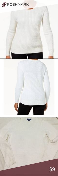 Cable- knitted sweater Pre- owned, in very good condition.   ~ 100% cotton  ~ machine wash  Bundle buy 15% off  Offers are accepted Karen Scott Sweaters Crew & Scoop Necks