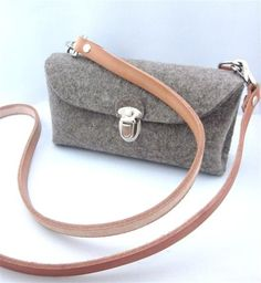 Items similar to Cute multi functional Clutch purse.Homage to a classic German design. Handmade- eco friendly pure Wool Felt classic gray on Etsy My Bags, Purses And Bags, Clutch Bag, Crossbody Bag, Felt Purse, Felt Diy, Handmade Bags, Small Bags, Bag Making