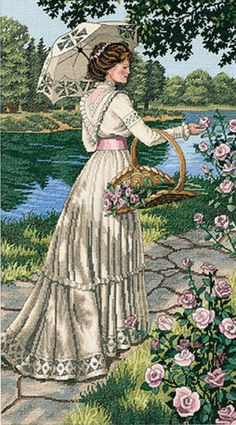 A Summer Stroll Counted Cross Stitch Kit - so elegant!
