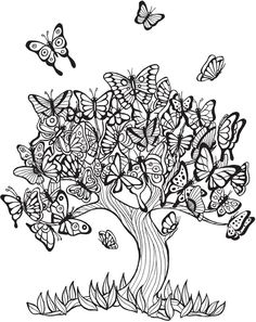 Free Butterfly Tree Coloring page Butterfly Coloring Page, Tree Coloring Page, Coloring Book Art, Adult Coloring Book Pages, Printable Adult Coloring Pages, Animal Coloring Pages, Coloring Pages To Print, Mandala Coloring, Colouring Pages
