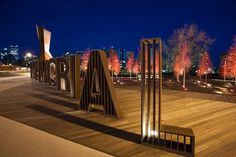 Memorial Drive Landscape of Memory - Poppy Plaza- Calgary,Canada- the marc boutin architectural collaborative Entrance Signage, Exterior Signage, Environmental Graphic Design, Environmental Graphics, Wayfinding Signage, Signage Design, Banner Design, Urban Furniture, Street Furniture