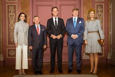 20 March 2018 - State visit to The Netherlands (day 2): The Hague - jacket and sweater by Salvatore Ferragamo, trousers by Alexander McQueen, shoes by Gianvito Rossi