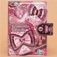 pink jewelry ribbon glitter ring binder sticker album