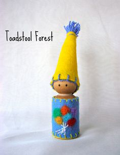 Waldorf Inspired Birthday Gnome ~ Balloon Gnome ~ Celebrate Peg Doll ~ Boy or Girl ~ Bright Colors ~ Needle Felted Balloons ~ Party Gnome by TheToadstoolForest on Etsy