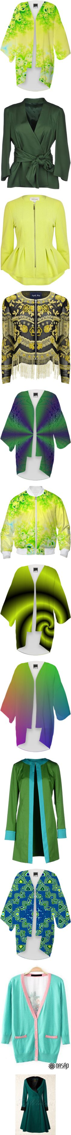 * #OUTERWEAR: #YELLOW & #GREEN * by artist4god-rose-santuci-sofranko on Polyvore featuring polyvore, fashion, clothing, intimates, robes, kimono, kimono robe, outerwear, jackets, blazers, tops, coats, military green, green blazer, long sleeve jacket, green military jacket, military blazer, green military style jacket, sale, yellow jacket, cinch jackets, peplum zip jacket, collarless jacket, peplum jacket, yellow, black, cowboy jacket, western jacket, floral print jacket, gold jacket, fancy…