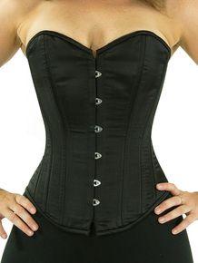 CS-530 black satin overbust corset